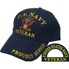 United States Navy Veteran Proudly Served Blue Hat Cap Usn