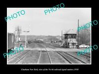 OLD LARGE HISTORIC PHOTO OF CHATHAM NEW YORK, THE 66 RAILROAD SIGNAL TOWER c1950