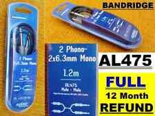BANDRIDGE AL475 1.2m 2xRCA PHONO to 2 x 6.3mm MONO Jack Plugs male AUDIO Cable