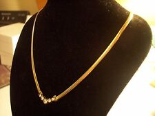 NEW 24 KTGOLD/STERLING SILVER ITALY 3.2MM HERRINGBONE NECKLACE W/CRYSTAL PENDANT