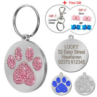 Clear Rhinestone Paw Print Custom Engraved Dog Tags Cat Pet Name Collar Tag ID