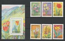 Uzbekistan 1993 Flowers 6 MNH stamps + Block