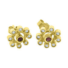 Woman flower earrings 18K 750 yellow gold with 0.08ct rubies and 0.16ct diamonds