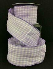 """Cotton Mini Check Wired Crinkle Ribbon~Lavender, White~2 1/2""""W x 10 yd"""