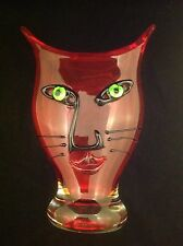 Murano Style Art Glass Red Cat Face Vase 'Crystalleria ~ Stile d'Arte'