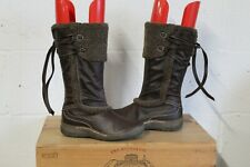 BROWN FAUX LEATHER MID CALF BOOTS SIZE 4 / 37 BY NEXT SHOCK ABSORBING USED CON