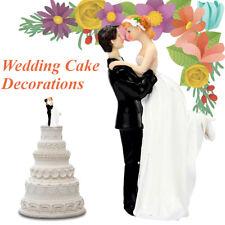 Romantic Bride and Groom Wedding Couple Resin Figurine Dancing Hug Cake Topper