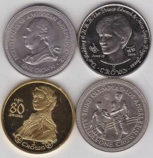 FOUR ISLE OF MAN BASE METAL CROWNS DATED 1976 TO 2006 IN MINT CONDITION