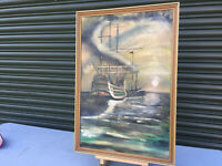 Framed signed oil painting on canvas Tall ship sailing in the moonlight E300319A