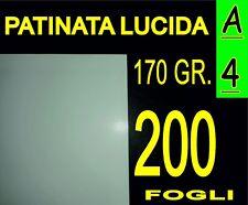 200 FOGLI Carta 170 gr fotografica PATINATA lucida x stampante laser A4 21X29.7