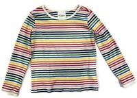 Hanna Andersson Girls Top Shirt Sz 120 US 6-7 Cotton Rainbow Striped Long Sleeve