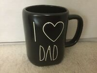 "RAE DUNN Artisan Collection LL "" Heart DAD'"" Black Mug Cup By Magenta New"