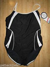 NEW* Speedo 14 40 Swimsuit RACING ATHLETIC $72 Black White