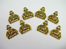 Gold Plated 3 hole / 3 strand drops - connectors - dangles 15mm - 8