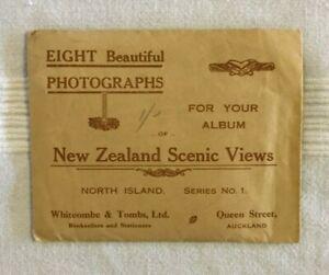 8 vintage photographs: New Zealand Scenic Views - original presentation envelope