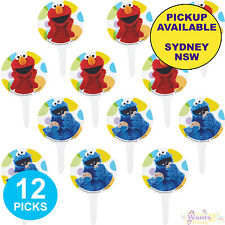 SESAME STREET PARTY SUPPLIES 12 CUPCAKE CAKE PICKS ELMO COOKIE MONSTER TOPPERS