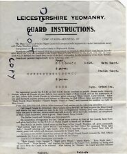 Guard mounting instructions for annual camp Leicestershire Yeomanry