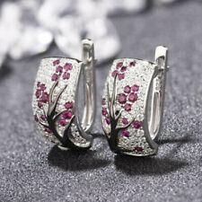 Red Ruby Flower Plum Blossom Stud Ear 925 Silver Dangle Earrings Women Jewelry