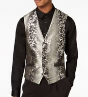 INC NEW Silver Mens Size 2XL Five Button Slim Fit Suit Seperate Vest $69 063