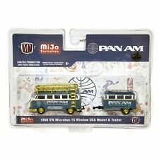 M2 Machines 1:64 1958 VW Microbus 15 Window USA Model & Trailer PAN AM CHASE