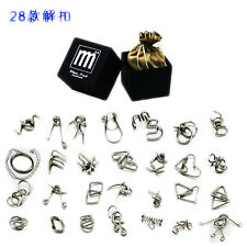 28PCS Metal Puzzle IQ Mind Brain Teaser Game Educational for Kids Toys Gift Box