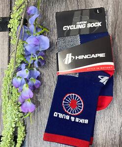 "Hincapie Racing Team Logo Sock ~ Large / Bike & Build Unisex NEW 5"" Cuff Height"