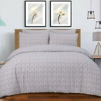 Duvet Cover Set - Single Cotton Bedset Scallop Blush Pink Reversible Bedding Set