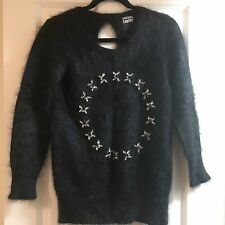 New Markus Lupfer Black Angora Crystal Fly Jumper Sweater XS