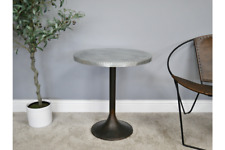 Heavy Iron & Metal Silver Side Table | Height 59 cm