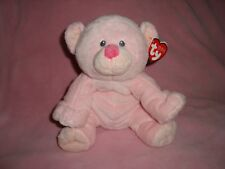 "Ty Pluffies Baby Woods Pink Bear Embroidered eyes 9"" dated 2010"