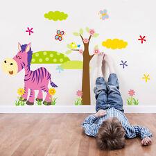 Wand Tattoo Bild Sticker Tier Zoo Bunt Baby Kinder Spiel Zimmer Zebra Aufkleber