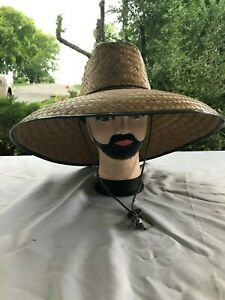 18 x 17 ''Fisherman  Straw Sun Hat, Sombrero de  pescador  de Palma Para Trabajo
