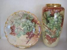 Vintage Germany Bavaria Hand Painted Grape & Leaf By M. Neer Vase & Plate Set