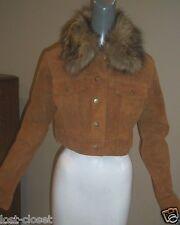 Brown Leather Short Jacket Coat Fur Removable Collar Junior size L 8 @ cLOSeT