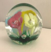 Joe St. Clair Floral Paperweight Five Different Color Flowers Grass Bottom