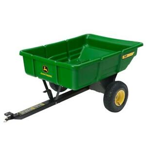 John Deere Tow Behind Poly Utility Cart Dump Trailer 450-Lbs 7-Cu Ft Hitch
