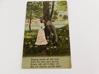 Antique Postcard No. 3037 Man Woman Kissing Scene Poem Johnny on the Spot