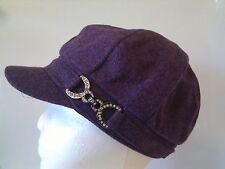 Tweed Stone Buckle Newsboy Cap - Purple
