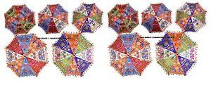 Indian Designer Umbrella Hand Elephant Embroidered Lot Of 10 Pc Cotton Parasols