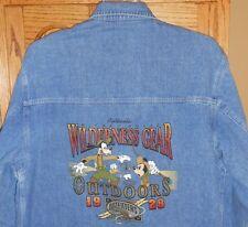 Disney Store Denim Coat sz L  Mickey Mouse Wilderness Gear Jacket Jean Shirt Jac