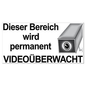 Aufkleber 20cm Dieser Bereich wird permanent Videoüberwacht Video cctv Kamera