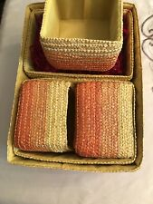 Lot 6 Old Time Pottery Wicker Large Storage Baskets New Orange Yellow Stripe New