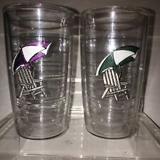 2 Tervis 16oz Tumblers Beach Chairs With Purple Green White Umbrellas Vacation