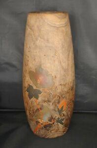 "Vintage Natural Wood Asian / Japanese Bird and Flower Inlayed Design Vase 12"""