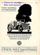 Steyr Waffenfabrik & Auto Waltl in Wels Reklame 1926 Oberösterreich Werbung +