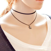 DOUBLE LAYER THIN CHOKER WITH BLACK STAR CHARM NECKLACE BLACK MULTI LAYER CHOKER