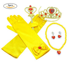 5x Princess Belle Dress up Gift Set: Gloves, Wand,Tiara/Crown & Necklace,Earring