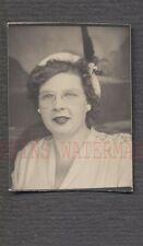 Vintage Photo Church Lady w/ Glasses & Hat in Photobooth 696080