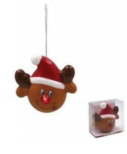 1 x  Reindeer Face Baubles With Light Up LED Red Nose