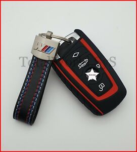Silicone Fob, Key Case Cover for BMW F10 F20 F30☆ For 4 Buttons + Keyring ☆ Red
